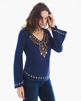 Chico's Indigo Embroidered Top