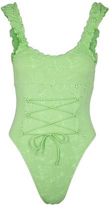 Frankie's Bikinis Penelope green lace-up swimsuit