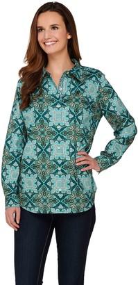 Susan Graver Printed Stretch Cotton Button Front Shirt