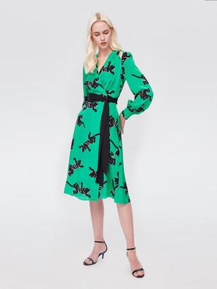 Diane von Furstenberg Hesy Silk Crepe de Chine Midi Wrap Dress
