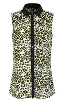 Select Fashion Fashion Womens Yellow Fluro Leopard Sless Plckt Shrt - size 6