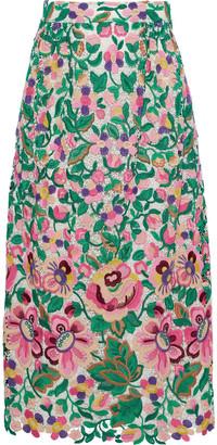 Valentino Cotton-blend Guipure Lace Midi Skirt