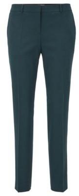 HUGO BOSS Regular Fit Pants In Virgin Wool Twill With Stretch - Dark Green