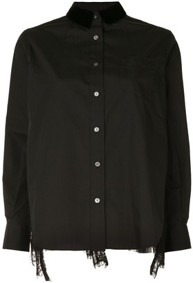 Sacai Sheer Lace Panel Shirt