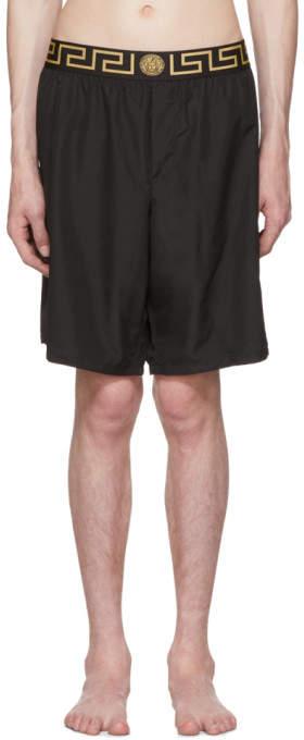 Versace Underwear Black Greek Key Medusa Swim Shorts