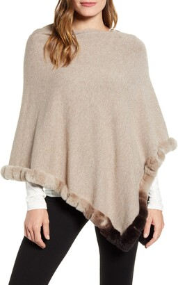 La Fiorentina Knit Poncho with Genuine Rabbit Fur Trim