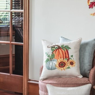 Pumpkin Patch August Grove DeSoto Embroidered Harvest Throw Pillow August Grove
