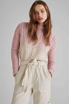 Anthropologie Marci Dip-Dyed Cable-Knit Sweater By in Grey Size XS