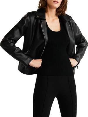 MANGO Faux Leather Moto Jacket