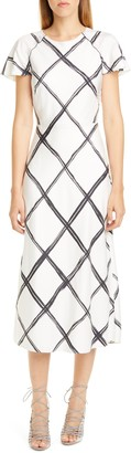 Jason Wu Collection Windowpane Print Silk Crepe de Chine Midi Dress