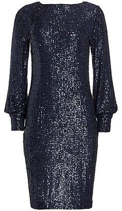 Teri Jon by Rickie Freeman Blouson Sleeve Sequin Shift Dress