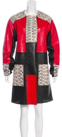 Proenza Schouler Leather Snakeskin-Paneled Coat