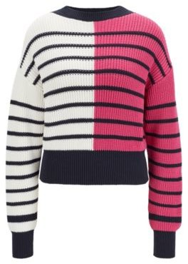 HUGO BOSS Relaxed-fit sweater with colour-blocking and stripes