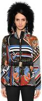 Versace Printed Microfiber Jacket W/ Fox Fur