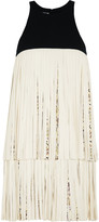 Giambattista Valli Fringed leather and crepe mini dress