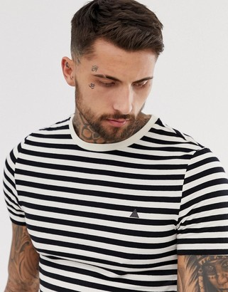 Asos Design DESIGN muscle fit t-shirt in stripe with triangle chest print-White