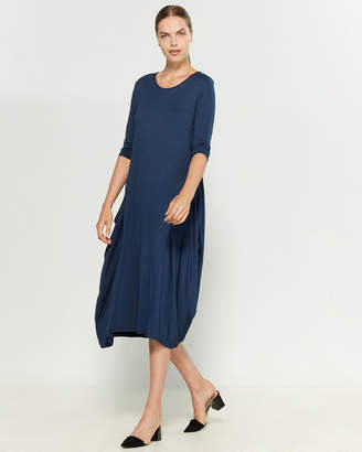 Made In Italy Three-Quarter Sleeve Side Drape Midi Dress