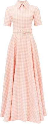 Emilia Wickstead Josie Belted Gingham Shirt Dress - Womens - Pink White