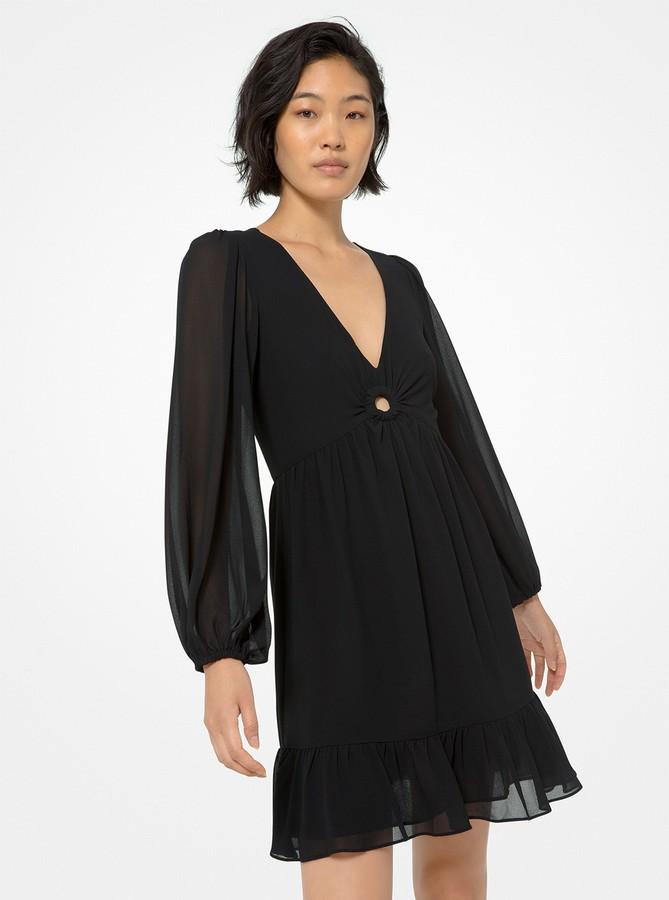 MICHAEL Michael Kors Ring-Detailed Georgette Dress