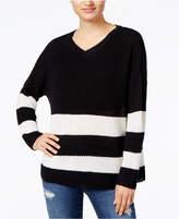 Ultra Flirt by Ikeddi Juniors' Striped Slouchy Sweater