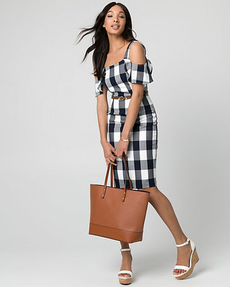 Le Château Gingham Viscose Blend Cold Shoulder Dress
