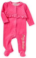 Juicy Couture (Newborn/Infant Girls) Pink Quilted Yoke Footie