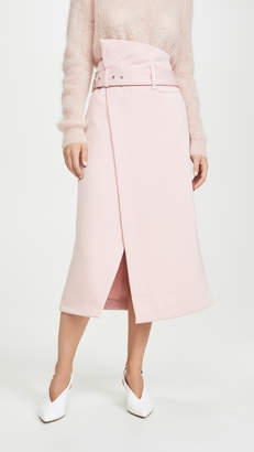 3.1 Phillip Lim Side Wrap Midi Structured Twill Skirt