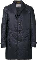 Canali lapel detail padded coat - men - Leather/Nylon/Polyamide/Spandex/Elastane - 48
