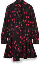Alexander McQueen Pussy-bow Printed Silk Crepe De Chine Mini Dress - Black