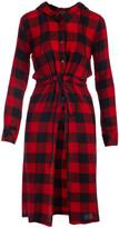 Buffalo David Bitton Thread Story Women's Tunics RED - Red & Black Plaid Drawstring Button-Up Hoodie - Women