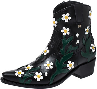 Valentino Black Floral Embroidered Leather Pointed Toe Cowboy Boots Size 39