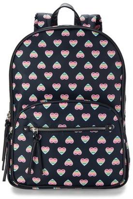 No Boundaries Black Rainbow Heart Double Gusset Backpack