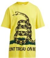 Vetements Snake-print Cotton T-shirt - Womens - Yellow