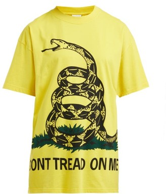 Vetements Snake-print Cotton T-shirt - Womens - Yellow
