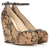 Jimmy Choo Pacific 120 Lace And Cork Wedge Sandals