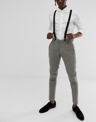 ASOS DESIGN wedding suspenders with black coated trims