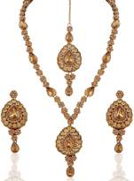I Jewels Traditional Gold Plated Elegantly Handcrafted Jewellery Set with Maang Tikka using Austrian Diamonds for Women IJ274FL (Gold)