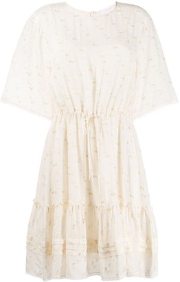 See by Chloe Fil Coupe Drawstring-Waist Dress