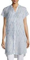 Eileen Fisher Cap-Sleeve Button-Front Shibori Tunic, Mulberry