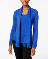 Karen Scott Luxsoft Embellished Scoop-Neck Sweater with Scarf, Only at Macy's
