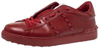 Valentino Red Leather Rockstud Untitled Rosso Low Top Sneakers Size 41
