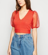 New Look Chiffon Spot Puff Sleeve Crop Top