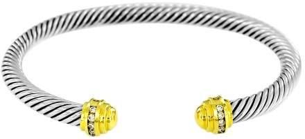 David Yurman 18K Yellow Gold/925 Sterling Silver wDiamonds Cable Bracelet
