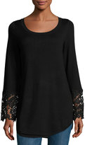 Neiman Marcus Lace Bell Sleeve Sweater Top, Black