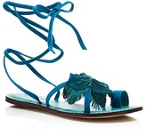 Bernardo Michelle Flower Lace Up Flat Sandals