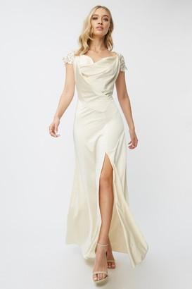 Little Mistress Bridesmaid Teigen Cream Satin And Crochet Cowl-Neck Maxi Dress