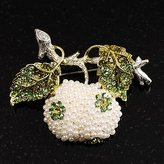 Avalaya White Simulated Pearl Apple Crystal Brooch