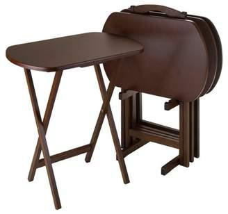 Winsome Corbett 4 Piece Oversize Oblong Snack Table Set - Antique Walnut