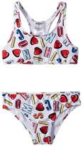 Moschino Kids All Over Logo Heart Print Two-Piece Bathing Suit Girl's Suits Sets