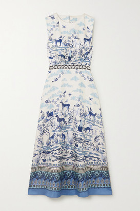 Saloni Fleur Printed Silk-twill Midi Dress - Blue